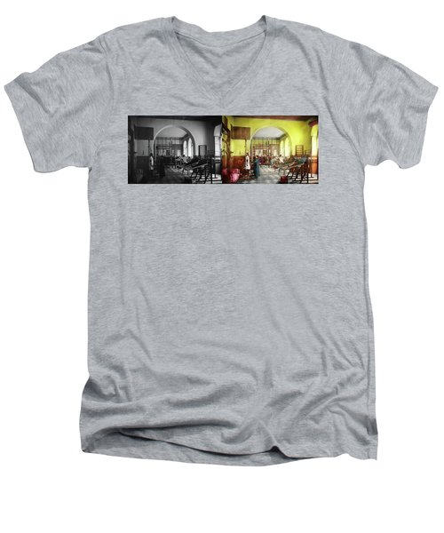 Men's V-Neck T-Shirt featuring the photograph Doctor - Physical Therapist - Welcome To The A Traction 1918 - Side By Side by Mike Savad