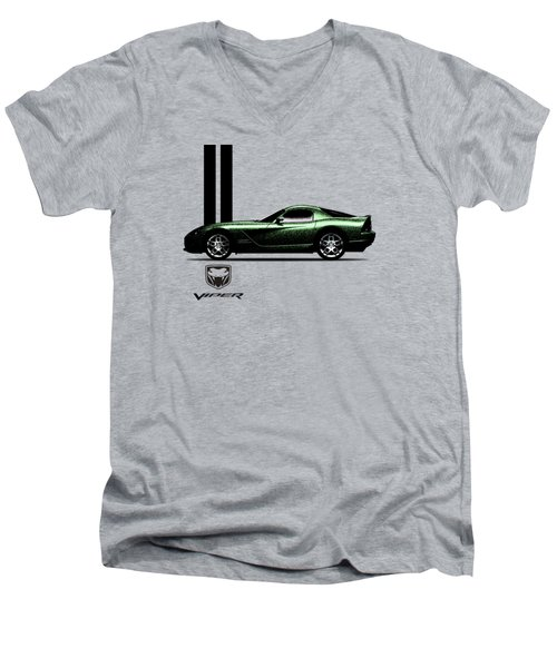 Dodge Viper Snake Green Men's V-Neck T-Shirt by Mark Rogan