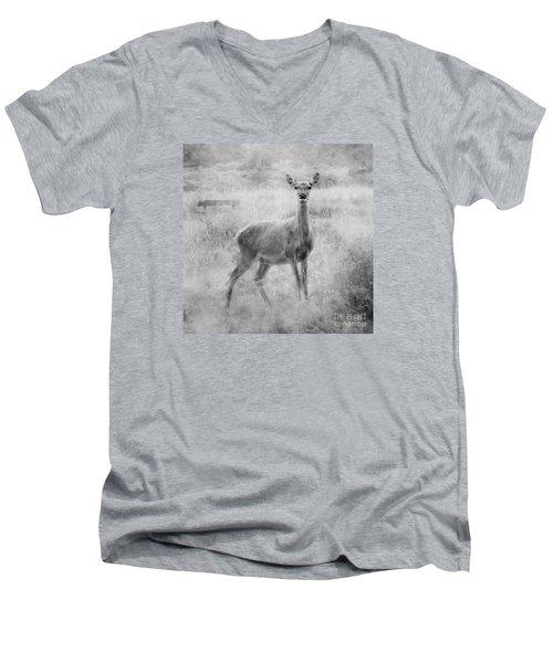 Doe A Deer A Female Deer In Mono Men's V-Neck T-Shirt by Linsey Williams