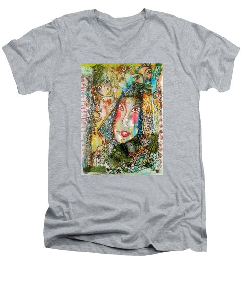 Men's V-Neck T-Shirt featuring the mixed media Doe Eyed Girl And Her Spirit Guides by Mimulux patricia no No