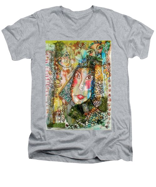 Doe Eyed Girl And Her Spirit Guides Men's V-Neck T-Shirt