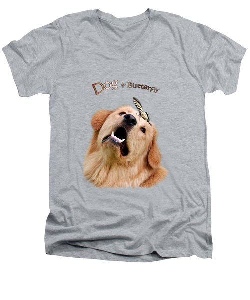 Dog And Butterfly Men's V-Neck T-Shirt by Christina Rollo