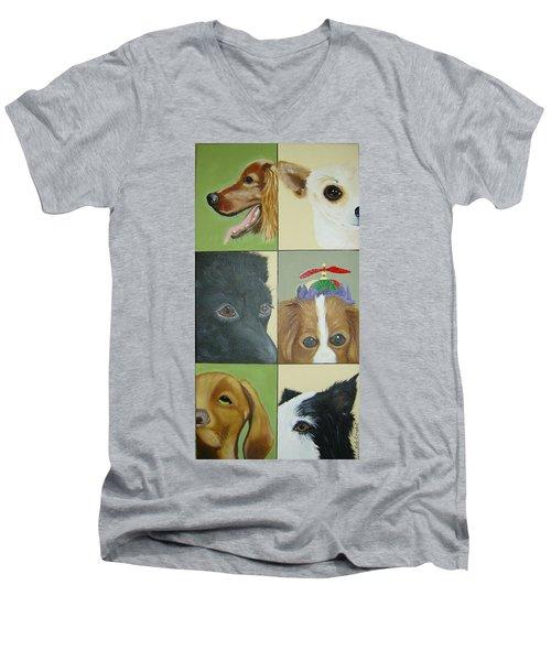 Dog Faces Of Love Men's V-Neck T-Shirt