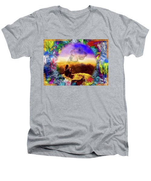 Dog Heaven Men's V-Neck T-Shirt by Ted Azriel