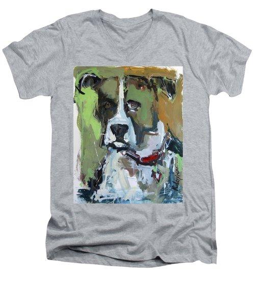 Men's V-Neck T-Shirt featuring the painting Dog Portrait by Robert Joyner