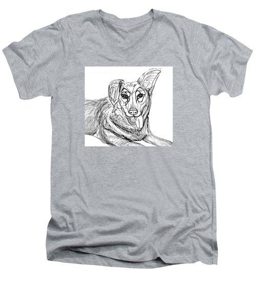 Men's V-Neck T-Shirt featuring the drawing Dog Sketch In Charcoal 1 by Ania Milo