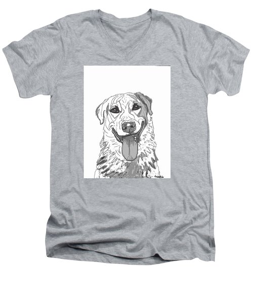 Men's V-Neck T-Shirt featuring the drawing Dog Sketch In Charcoal 2 by Ania M Milo