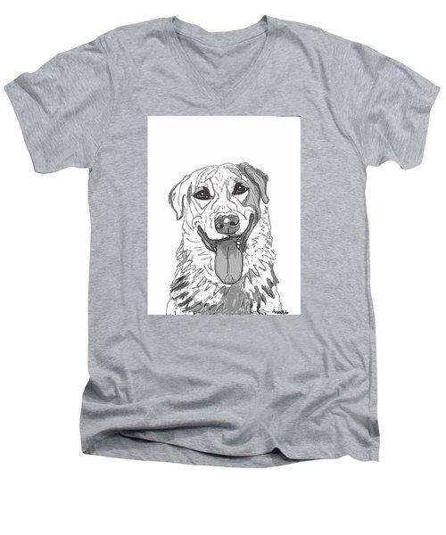 Dog Sketch In Charcoal 2 Men's V-Neck T-Shirt