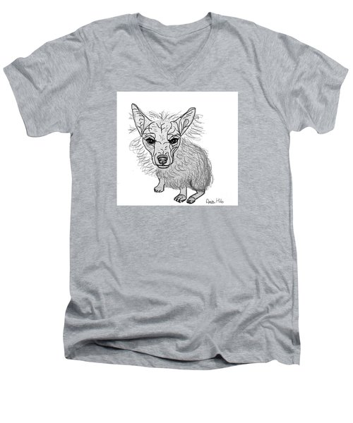 Men's V-Neck T-Shirt featuring the drawing Dog Sketch In Charcoal 3 by Ania M Milo