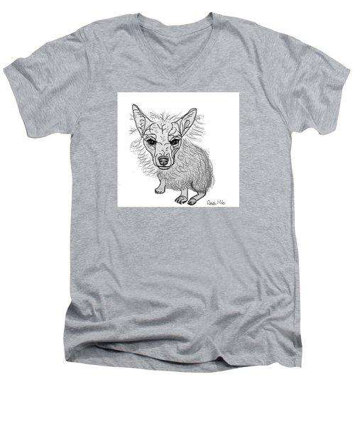 Dog Sketch In Charcoal 3 Men's V-Neck T-Shirt
