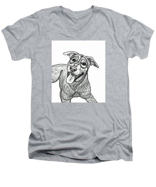 Dog Sketch In Charcoal 5 Men's V-Neck T-Shirt