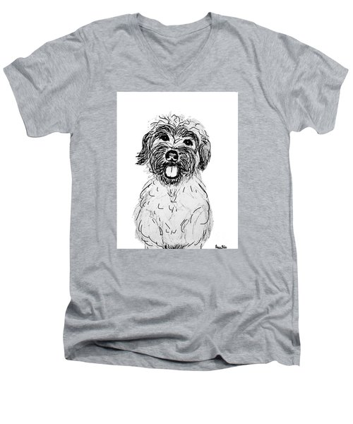 Men's V-Neck T-Shirt featuring the drawing Dog Sketch In Charcoal 6 by Ania M Milo