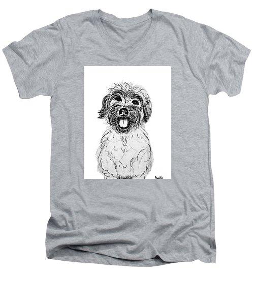 Dog Sketch In Charcoal 6 Men's V-Neck T-Shirt