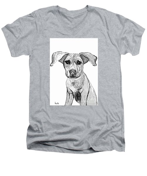 Men's V-Neck T-Shirt featuring the drawing Dog Sketch In Charcoal 7 by Ania M Milo