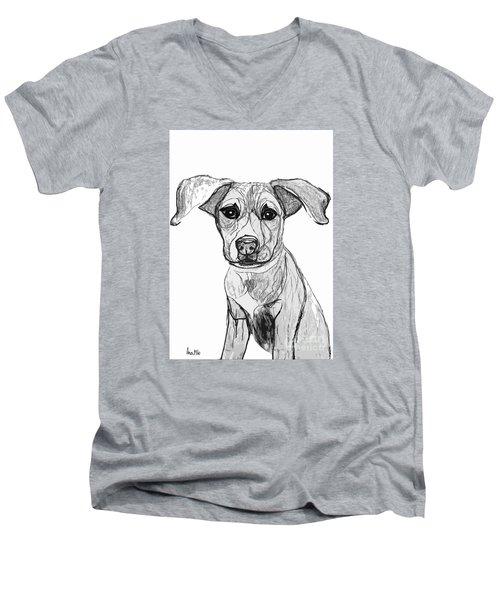Dog Sketch In Charcoal 7 Men's V-Neck T-Shirt