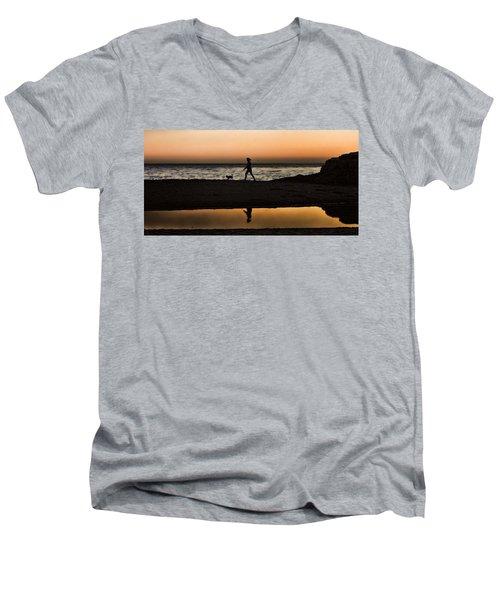 Dog Walker At Sunset Men's V-Neck T-Shirt