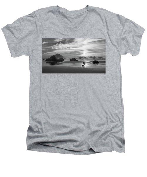 Dog Walker Bw Men's V-Neck T-Shirt