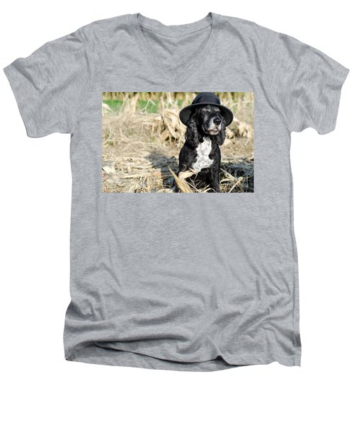 Dog With A Hat Men's V-Neck T-Shirt