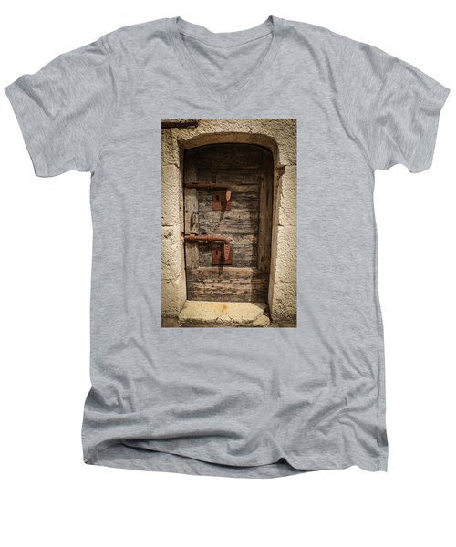 Men's V-Neck T-Shirt featuring the photograph Doge's Jail Door by Kathleen Scanlan