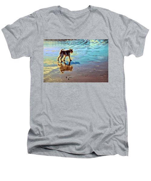 Doggone Beachy Day Men's V-Neck T-Shirt