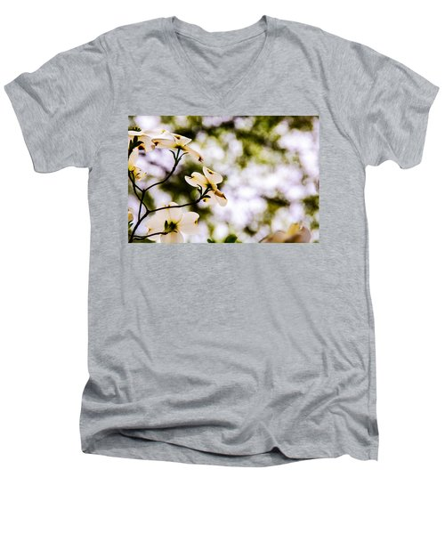 Dogwoods Under The Pines Men's V-Neck T-Shirt by John Harding