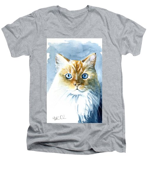 Doll Face Flame Point Himalayan Cat Painting Men's V-Neck T-Shirt