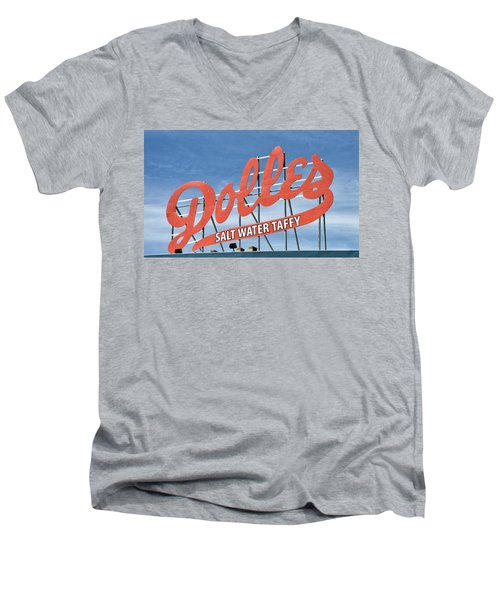Men's V-Neck T-Shirt featuring the photograph Dolles Salt Water Taffy - Rehoboth Beach  Delaware by Brendan Reals