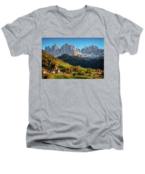 Dolomite Village In Autumn Men's V-Neck T-Shirt