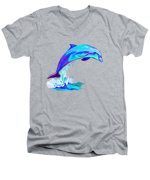 Dolphin In Colors Men's V-Neck T-Shirt