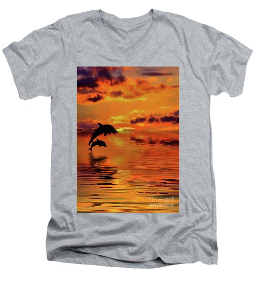 Men's V-Neck T-Shirt featuring the digital art Dolphin Silhouette Sunset By Kaye Menner by Kaye Menner