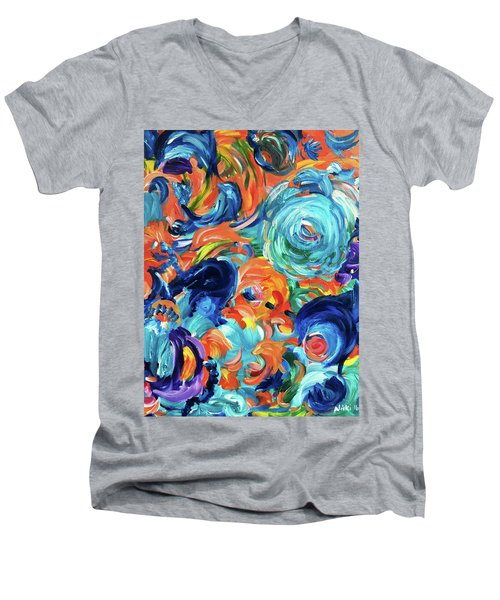 Dolphins Playing In Peonies Men's V-Neck T-Shirt