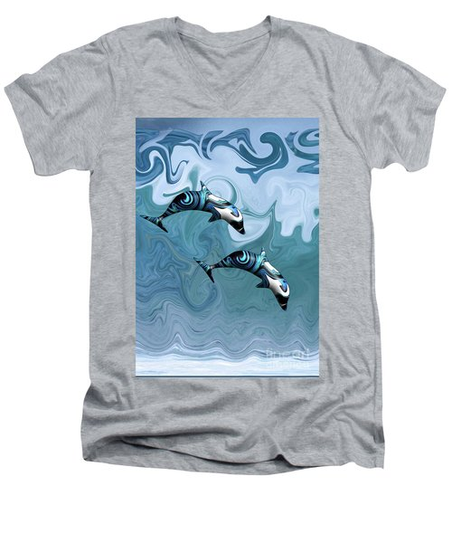 Dolphins Playing In The Waves Men's V-Neck T-Shirt