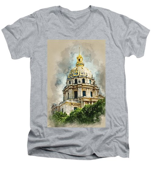 Dome Des Invalides Men's V-Neck T-Shirt by Kai Saarto