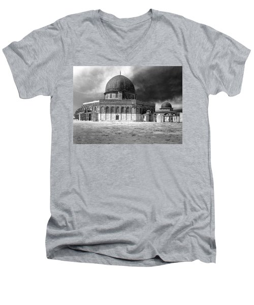 Dome Of The Rock - Jerusalem Men's V-Neck T-Shirt by Munir Alawi