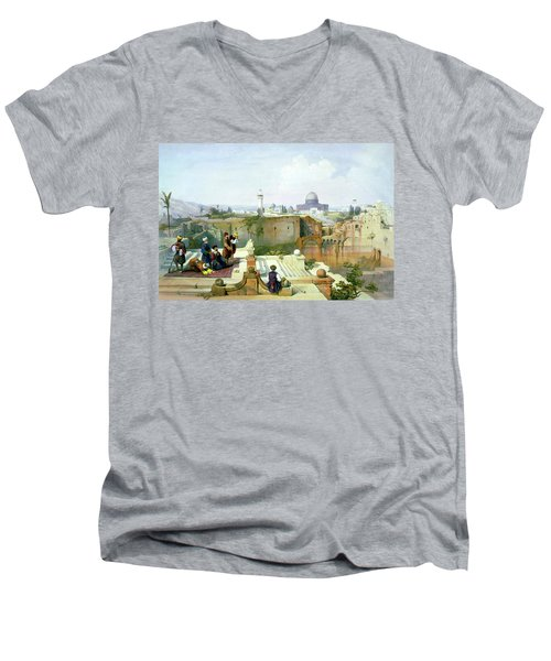 Dome Of The Rock In The Background Men's V-Neck T-Shirt by Munir Alawi