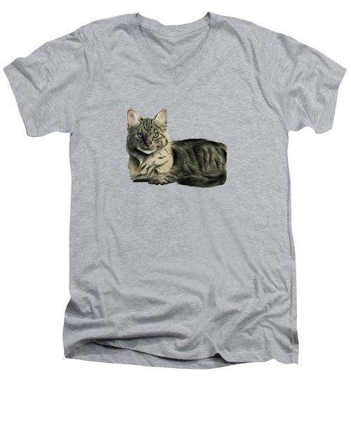 Domestic Medium Hair Cat Watercolor Painting Men's V-Neck T-Shirt
