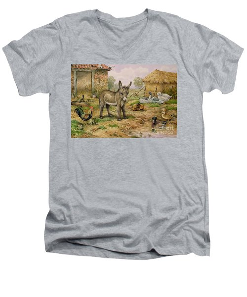 Donkey And Farmyard Fowl  Men's V-Neck T-Shirt by Carl Donner
