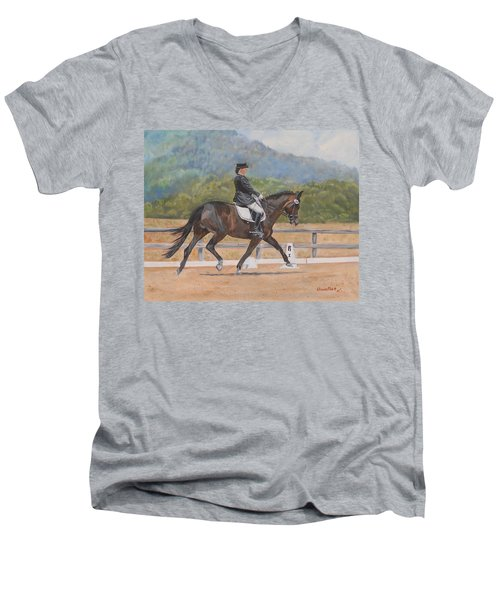 Men's V-Neck T-Shirt featuring the painting Donnerlittchen by Quwatha Valentine