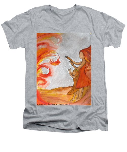 Men's V-Neck T-Shirt featuring the painting Don't Be Afraid by Gioia Albano