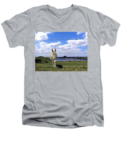 Men's V-Neck T-Shirt featuring the photograph Don't Fence Me In 002 by Chris Mercer