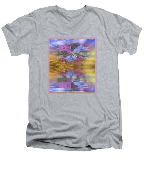 Men's V-Neck T-Shirt featuring the mixed media Dont Go Away by Ray Tapajna