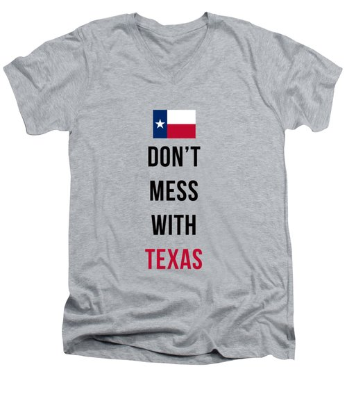 Don't Mess With Texas Tee Blue Men's V-Neck T-Shirt by Edward Fielding