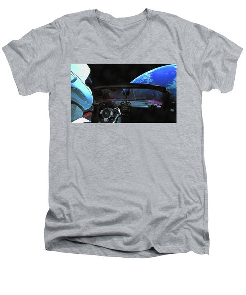 Dont Panic - Tesla In Space Men's V-Neck T-Shirt