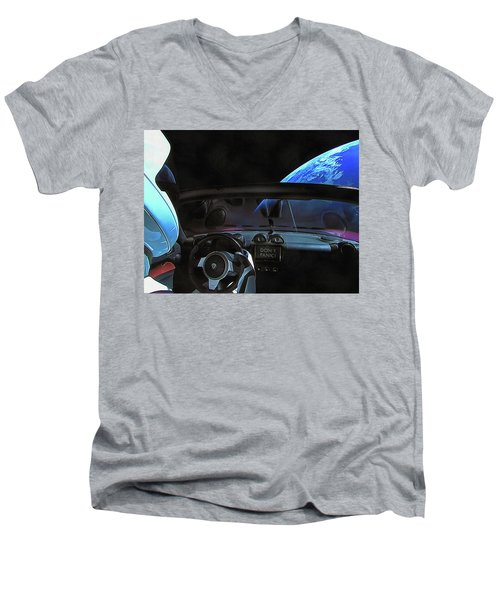 Dont Panic - Tesla In Space Men's V-Neck T-Shirt