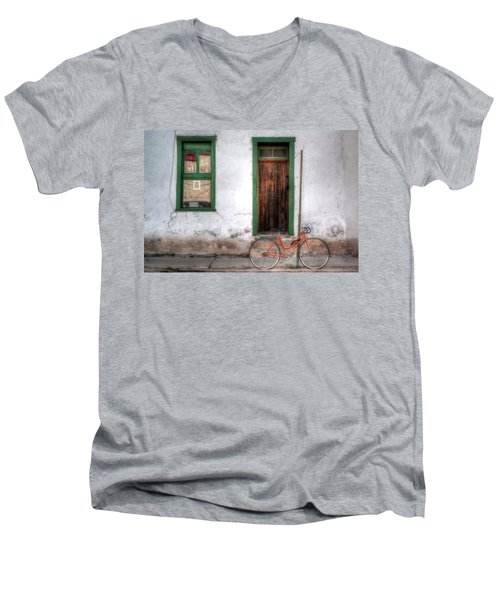 Men's V-Neck T-Shirt featuring the photograph Door 345 by Lynn Geoffroy