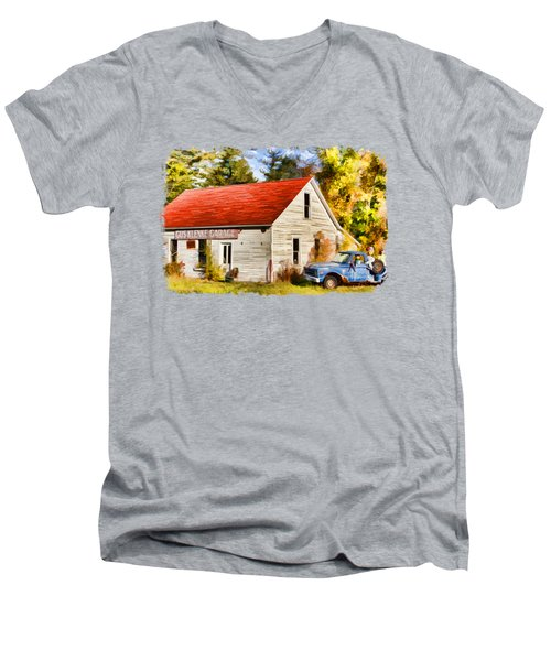 Men's V-Neck T-Shirt featuring the painting Door County Gus Klenke Garage by Christopher Arndt