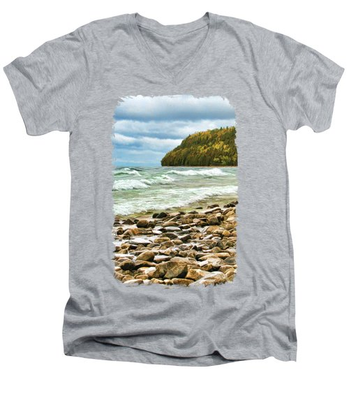 Men's V-Neck T-Shirt featuring the painting Door County Porcupine Bay Waves by Christopher Arndt