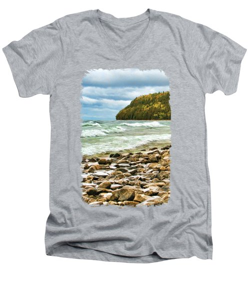 Door County Porcupine Bay Waves Men's V-Neck T-Shirt