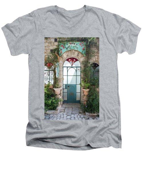 Door Entrance To The Art Men's V-Neck T-Shirt by Yoel Koskas