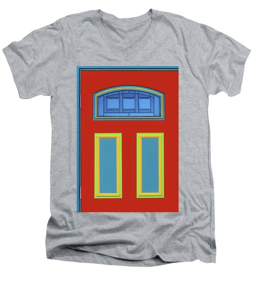 Men's V-Neck T-Shirt featuring the photograph Door - Primary Colors by Nikolyn McDonald